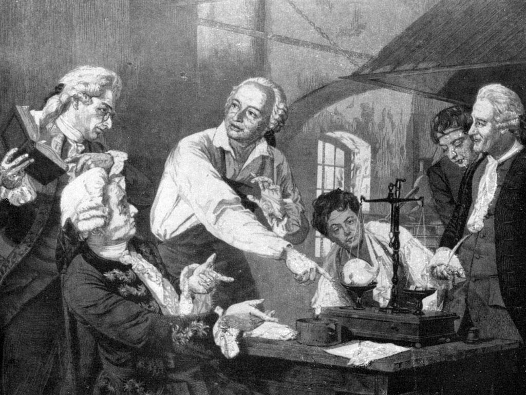 Ломоносов в химической лаборатории. Линогравюра Н. Г. Наговицына, 1958 г.