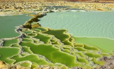 Dallol geothermal brine hot springs, salt terraces, and a salt lake, Ethiopia