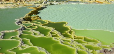 Dallol geothermal brine hot springs, salt terraces, and a salt lake, Ethiopia