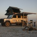 Land Rover Defender 110 with Overland Kit on Makgadikgadi Salt Pans