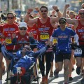 Boston Marathon icons Dick Hoyt and his son Rick finish the 118th Boston Marathon in Boston