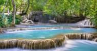Водопад Тат Куанг Си в Лаосе.