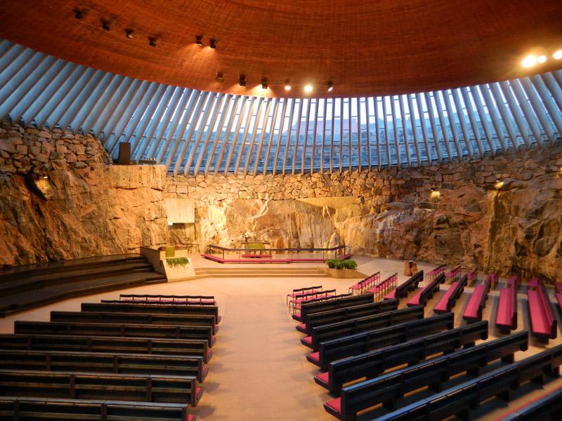 Темпелплатс - церковь в скале (Temppeliaukion Kirkko) в Хельсинки