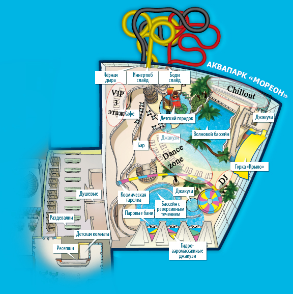 Аттракционы аквапарка Мореон