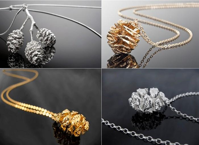 Украшения из настоящих даров природы, покрытых серебром и золотом